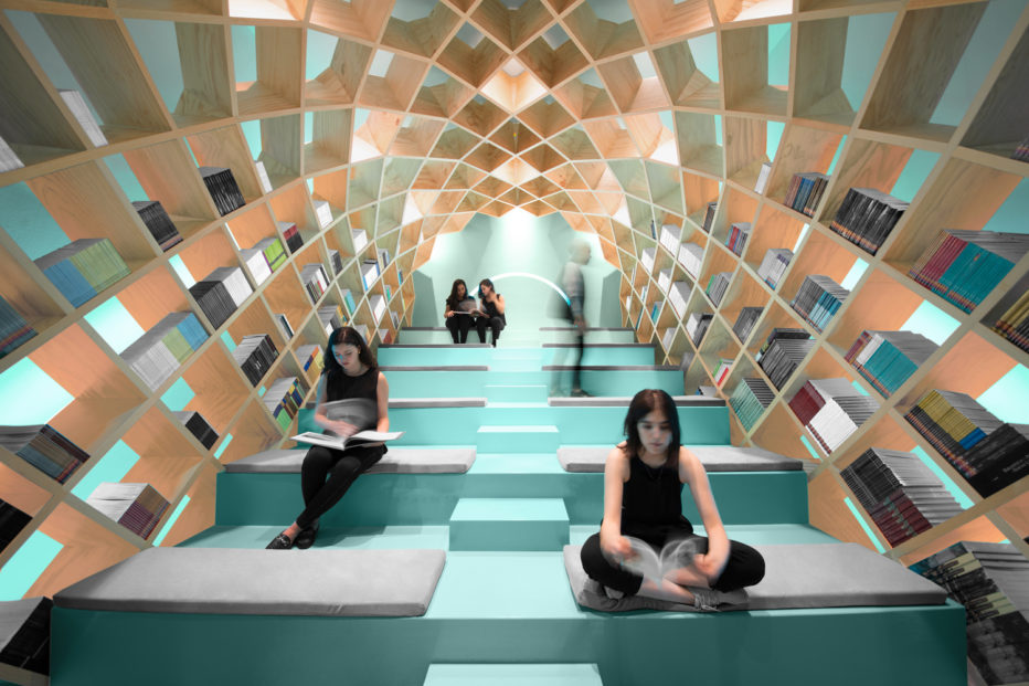 "Knjižnica gradskoga vijeća za kulturu i umjetnost ""Conarte"", Monterrey, Meksiko. Izvor: https://www.wired.com/2016/09/settle-10-beautiful-libraries-earth/."