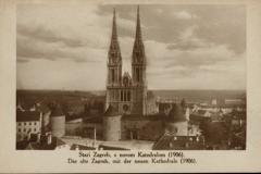 Razglednica Zagreba iz fonda Grafičke zbirke NSK. Stari Zagreb, s novom Katedralom (1906). = Das alte Zagreb mit der neuen Kathedrale (1906). 1906.