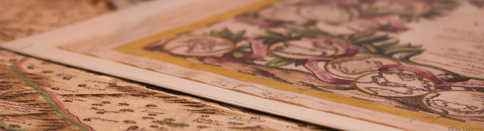 V. M. Coronelli: Ristretto dell'a Dalmazia diuisa ne suoi contadi : isole dela Dalmatia diuise ne' suoi contadi, parte occidentale, obojeni bakrorez, 1690. Zbirka zemljovida i atlasa NSK
