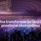"""Vizual najave konferencije """"Digitalna transformacija i knjižnice u posebnim okolnostima"""". Kupola kao mreža koordinatnog sustava iznad noćne panorame suvremenog grada."""
