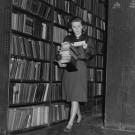 British Library of Political and Economic Science collecting books for readers in the reserve stacks, 1964